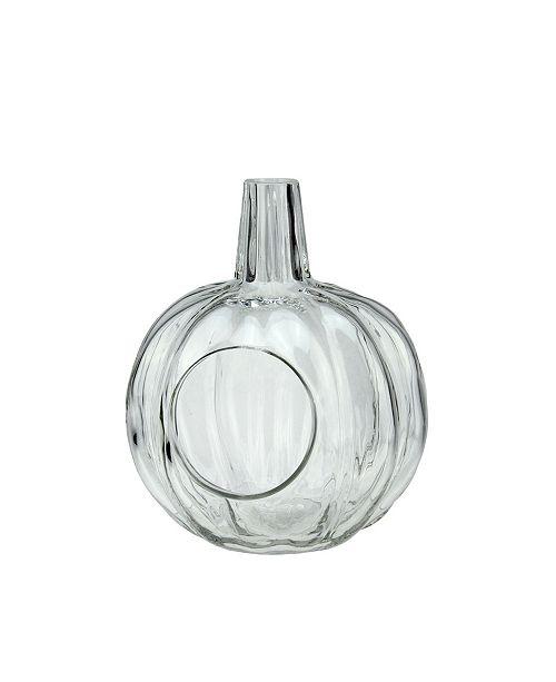 Northlight Transparent Glass Pumpkin Pillar Candle Holder