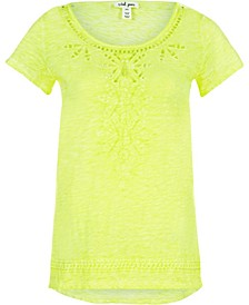 Cap Sleeve Embroidered Top