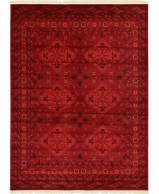 Vivaan Viv1 Red 7' x 10' Area Rug