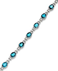 Sterling Silver Bracelet, Blue Topaz Oval Link Bracelet (13 ct. t.w.)