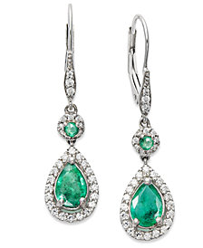 14k White Gold Earrings, Emerald (1-3/8 ct. t.w.) and Diamond (1/3 ct. t.w.) Pear Drop Earrings