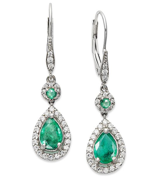 Macy's 14k White Gold Earrings, Emerald (1-3/8 ct. t.w.) and Diamond (1/3 ct. t.w.) Pear Drop Earrings (Also Available in Sapphire)