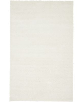 Salon Solid Shag Sss1 White 8' x 10' Area Rug