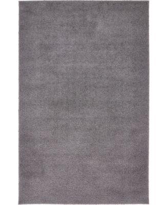 Salon Solid Shag Sss1 Dark Gray 4' x 6' Area Rug