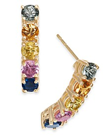 Multi-Sapphire Curved Drop Earrings (3-1/20 ct. t.w.) in 14k Gold