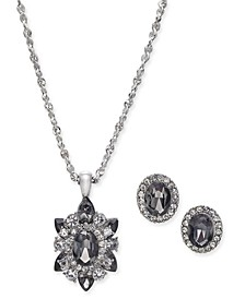 "Silver-Tone Crystal and Stone Pendant Necklace & Stud Earrings Set, 17"" + 2"" extender, Created For Macy's"