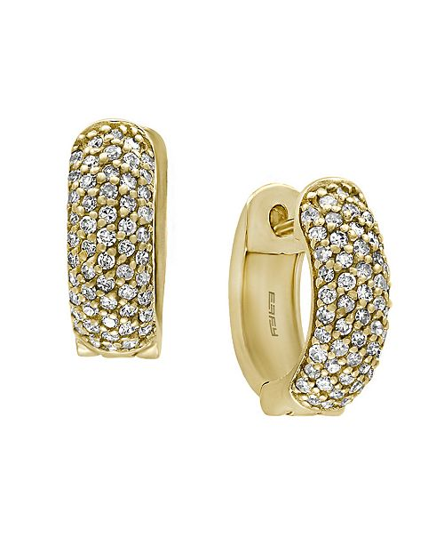 EFFY Collection D'ORO By EFFY Diamond (1/2 ct. t.w.) Huggie Earrings in 14k Yellow Gold