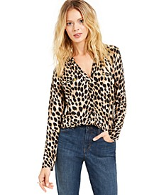 INC Animal Print Zip-Detail Top, Created for Macy's
