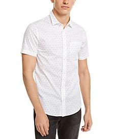 Men's Slim-Fit Stretch Ditsy Logo-Print Shirt