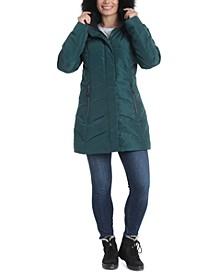 Sara Faux-Fur Trim Hooded Puffer Coat