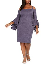 Plus Size Off-The-Shoulder Metallic Sheath Dress