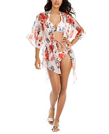 White Floral Printed Tie-Front Kimono Cover-Up