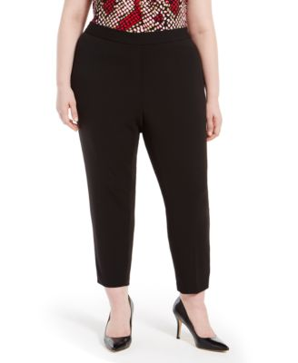 Plus Size Piped-Trim Straight-Leg Pants