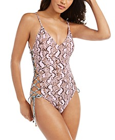 Python Printed Side-Laced One-Piece Swimsuit