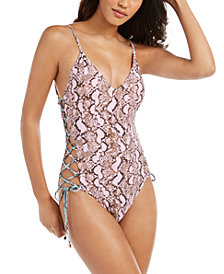 RACHEL Rachel Roy Python Printed Side-Laced One-Piece Swimsuit