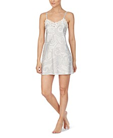 Double-Strap Printed Satin Chemise With Lace Trim