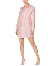 Lauren Ralph Lauren Striped Logo-Print Sleepshirt