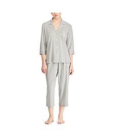 3/4 Sleeve Cotton Notch Collar Capri Pant Pajama Set