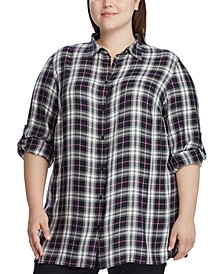 Plus Size Plaid-Print Shirt