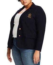 Lauren Ralph Lauren Plus Size Stretch Cotton-Blend Sweater Blazer