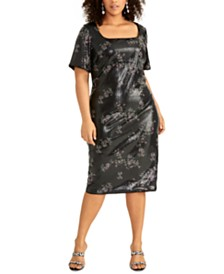 RACHEL Rachel Roy Plus Size Floral Sequin Dress
