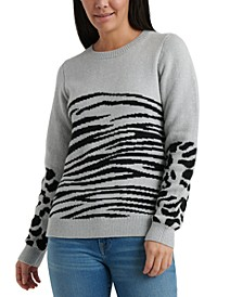 Mixed Animal-Print Sweater
