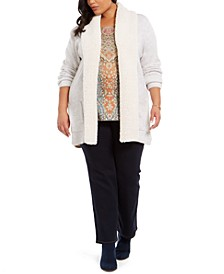 Plus Size Sherpa-Collar Cardigan, Created For Macy's