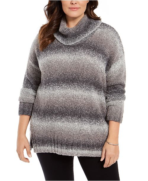 Style & Co Plus Size Ombré Cowl-Neck Sweater, Created for Macy's
