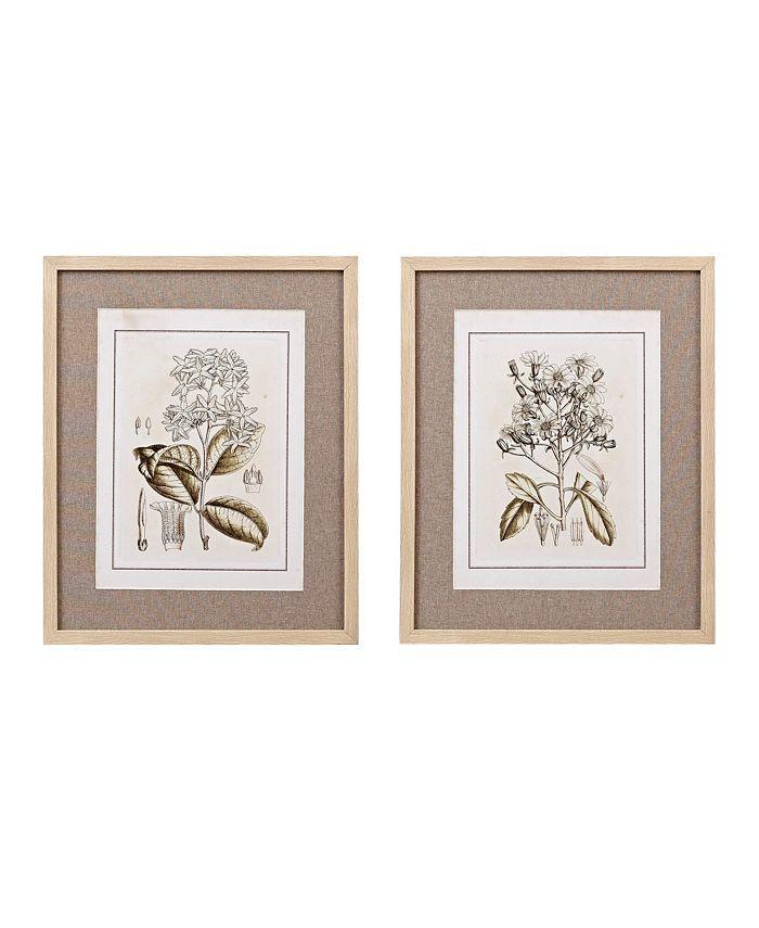 Martha Stewart Collection - Tinted Botanical Set Single Linen Mat Framed Graphic 2-Pc Set