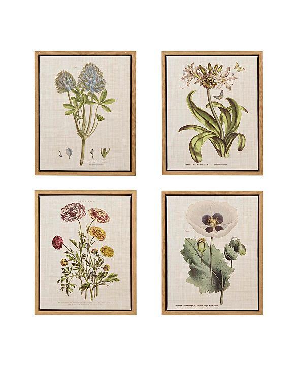 Martha Stewart Collection Martha Stewart Herbal Botany Set Framed Linen Canvas 4-Pc Set