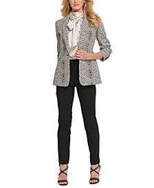 Petite Printed Single-Button Blazer, Bow-Neck Shiny Top & Essex Pants