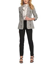 DKNY Animal-Print Jacket, Tie Blouse & Jeggings