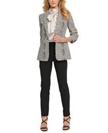 DKNY Petite Printed Single-Button Blazer, Bow-Neck Shiny Top & Essex Pants