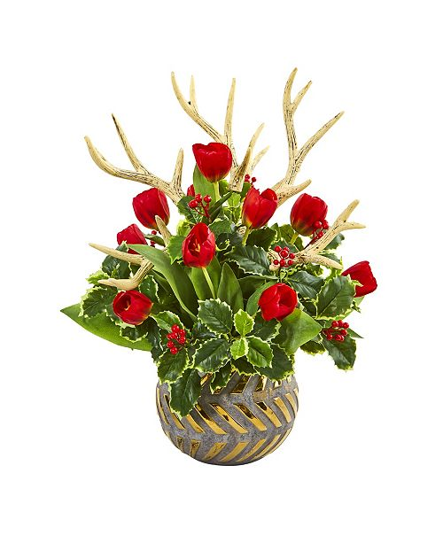 Nearly Natural Tulips, Antlers and Holly Leaf Artificial Arrangement in Bowl