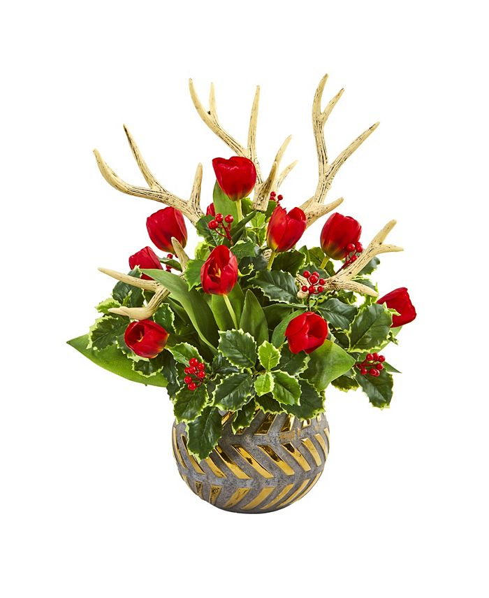 Nearly Natural - Tulips, Antlers and Holly Leaf Artificial Arrangement in Bowl