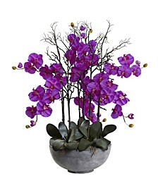 """46"""" Giant Phalaenopsis Orchid Artificial Arrangement in Cement Bowl"""