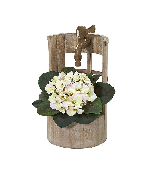 "Nearly Natural 12"" African Violet Artificial Plant in Faucet Planter"