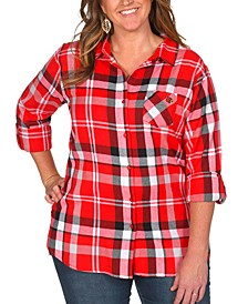 UG Apparel Women's Plus Size Louisville Cardinals Flannel Boyfriend Plaid Button Up Shirt