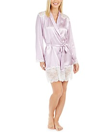 Women's Lace-Trim Satin Whisper Wrap Robe