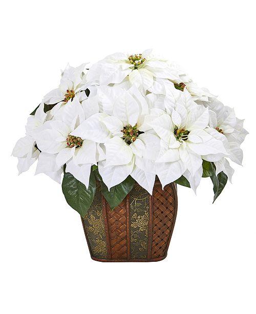 "Nearly Natural 18"" Poinsettia Artificial Arrangement in Decorative Planter"