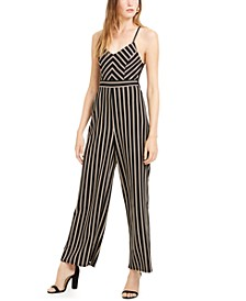 Juniors' Striped Lace-Back Cami Jumpsuit
