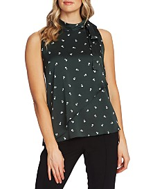 Vince Camuto Ditsy-Floral Print Tiered Sleeveless Tie Blouse