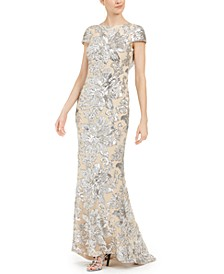 Sequin Cowl-Back Gown