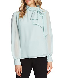 Vince Camuto Sheer-Sleeve Tie Blouse