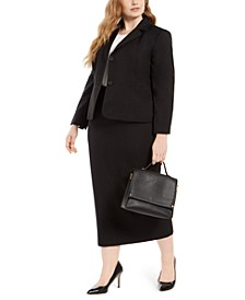 Plus Size Column Skirt Suit