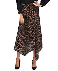 Animal Phrases Leopard Print Handkerchief-Hem Skirt