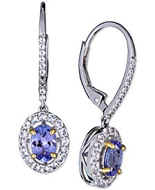 Tanzanite (1-1/2 ct. t.w.) & White Sapphire (1/3 ct. t.w.) Drop Earrings in Sterling Silver & 14k Gold-Plate