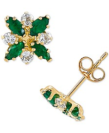 Emerald (3/4 ct. t.w.) & White Topaz (1/3 ct. t.w.) Flower Stud Earrings in 10k Gold