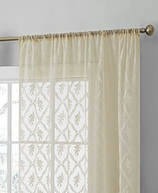"""Lucido By Melbourne Floral Sheer Lace Voile Rod Pocket CafeTiers - 30"""" X 24"""" - Set of 2 Tiers"""