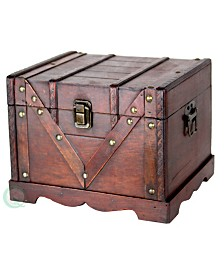 Vintiquewise Small Wooden Treasure Box, Old Style Treasure Chest